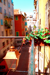 View of street from balcony, Nice France